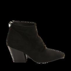 Ankle boots neri in microfibra, tacco 7,50 cm, Primadonna, 160598311MFNERO035, 001a