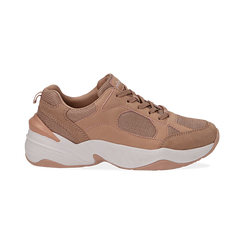 Dad shoes nude in microfibra, zeppa 4,50 cm, Sneakers, 142619462MFNUDE036, 001 preview