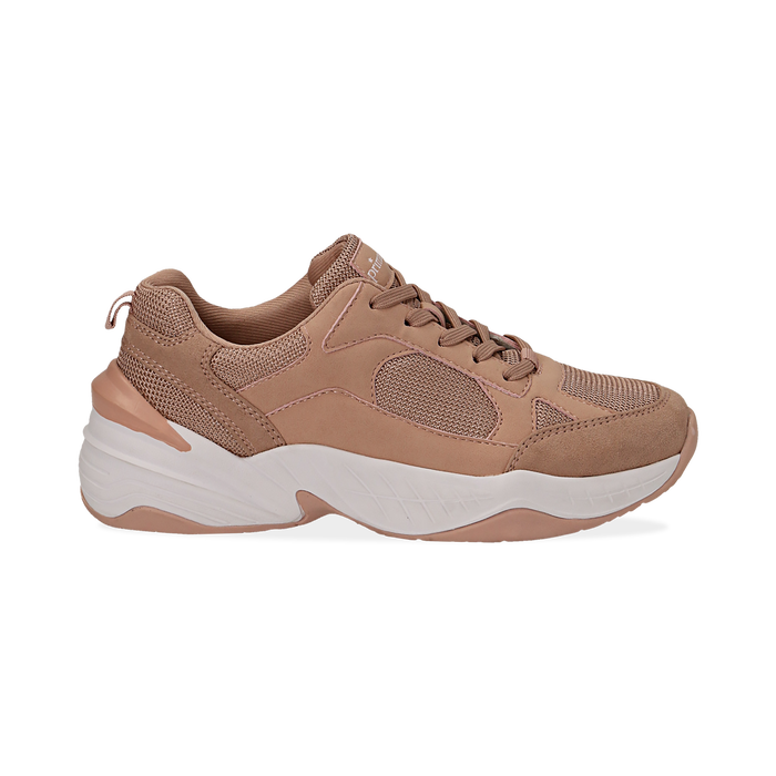 Dad shoes nude in microfibra, zeppa 4,50 cm, Sneakers, 142619462MFNUDE036