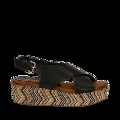 Sandali platform neri in eco-pelle, zeppa intrecciata 5 cm, Primadonna, 132117952EPNERO036, 001a