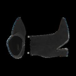 Ankle bottes en microfibre noir, talon 10 cm, Primadonna, 164822754MFNERO035, 003 preview
