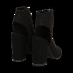 Sandali neri in tessuto con gambale alto, tacco 11 cm, Sandali con tacco, 132156513TSNERO, 004 preview