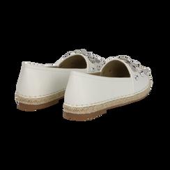 Espadrillas bianche in eco-pelle con gemme, Saldi Estivi, 134921159EPBIAN036, 004 preview