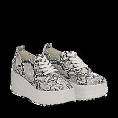 Sneakers bianche e nere in eco-pelle effetto snake print, zeppa 6 cm, Scarpe, 132008353PTBINE037, 002a