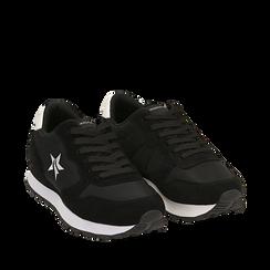 Sneakers nere in microfibra, Scarpe, 140600201MFNERO035, 002a
