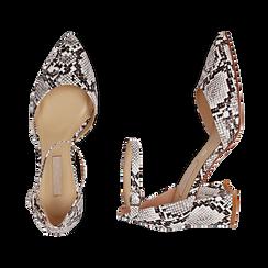 Décolleté en eco-piel con estampado de serpiente en blanco/negro con tira, tacón 6,50 cm, Zapatos, 152182391PTBINE036, 003 preview