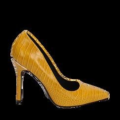 Décolleté gialle eco-pelle effetto coccodrillo, tacco 11 cm , Scarpe, 142146861CCGIAL035, 001a