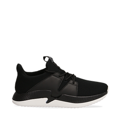 Sneakers nere in tessuto tecnico e suola wave, Scarpe, 132619310TSNERO035, 001a