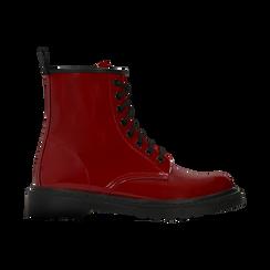 Anfibi rossi vernice, tacco basso, Scarpe, 122801501VEROSS, 001 preview