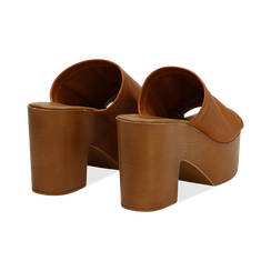 Mules cuoio in eco-pelle, tacco 9 cm , Primadonna, 134956581EPCUOI035, 004 preview