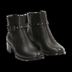 Ankle boots neri in eco-pelle, tacco 4 cm , Scarpe, 143098118EPNERO036, 002 preview
