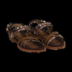 Sandali flat cuoio in eco-pelle,