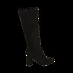 Stivali neri in microfibra, tacco 9 cm , Scarpe, 142182525MFNERO035, 001 preview