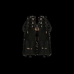 Tronchetti neri con coulisse, tacco stiletto 11,5 cm, Scarpe, 122116005MFNERO, 003 preview
