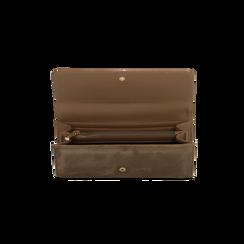 Portafoglio taupe in microfibra scamosciata con 12 vani, Borse, 122200022MFTAUPUNI, 004 preview