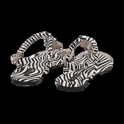 Sandali infradito flat zebra print in microfibra, con catenelle, Primadonna, 134909285MFZEBR036, 004 preview