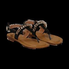Sandali infradito neri in eco-pelle con catenella, Primadonna, 134988163EPNERO035, 002 preview