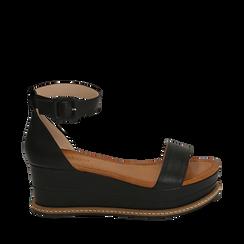Sandali neri in eco-pelle, zeppa 6,50 cm , Scarpe, 154926113EPNERO035, 001a