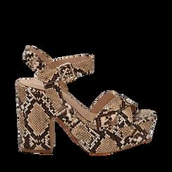 Sandali con plateau beige in eco-pelle, effetto snake skin, tacco 11 cm , Scarpe, 134903269PTBEIG035, 001a