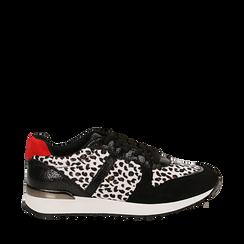 Sneakers leopard nere in eco-cavallino, Scarpe, 142008377CVLENE035, 001a