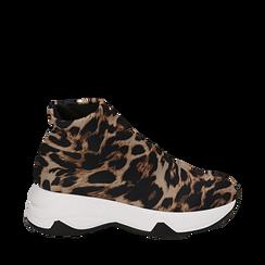 Sneakers a calza leopard in lycra, zeppa 5 cm , Scarpe, 142008357LYLEMA036, 001a