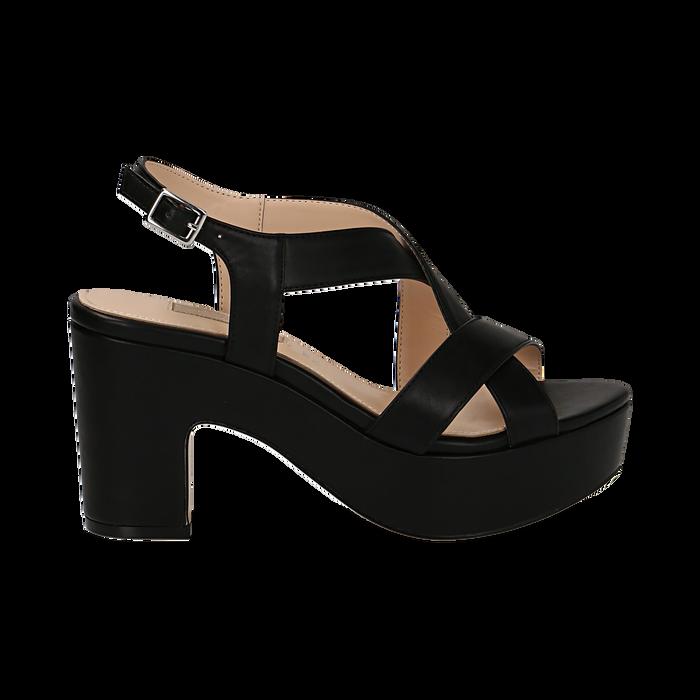 Sandali con plateau neri in eco-pelle, tacco 9 cm , Sandali con tacco, 138402258EPNERO036