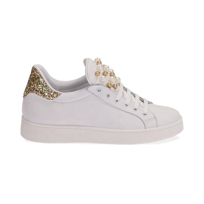 Sneakers bianche in pelle con glitter oro, Primadonna, 17L600400PEBIOR035