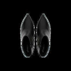 Tronchetti neri in vera pelle, tacco a rocchetto 6 cm, Primadonna, 12D618402VINERO, 004 preview