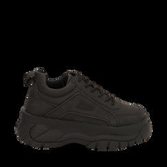 Sneakers platform nere in micro-nabuk, zeppa 5,50 cm , Scarpe, 14D814401MNNERO035, 001a