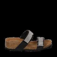 Sandali platform neri in vernice, con strass, zeppa in sughero 5 cm , Scarpe, 117811048VENERO036, 001a