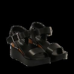 Sandali platform neri in eco-pelle, zeppa 7 cm, Scarpe, 132147321EPNERO035, 002a