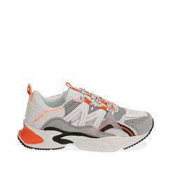 Sneakers bianco/arancio, Scarpe, 17E900045EPBIAC035, 001a