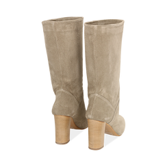 Stivali taupe in camoscio, tacco 9 cm, Scarpe, 158900891CMTAUP036, 003 preview