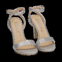 Sandalias en purpurina color plateado, tacón 10,50 cm , Zapatos, 152127401GLARGE038, 002a