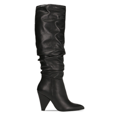 Stivali neri gambale drappeggiato in vera pelle, tacco cono 8 cm, Primadonna, 12D613914VINERO, 001 preview