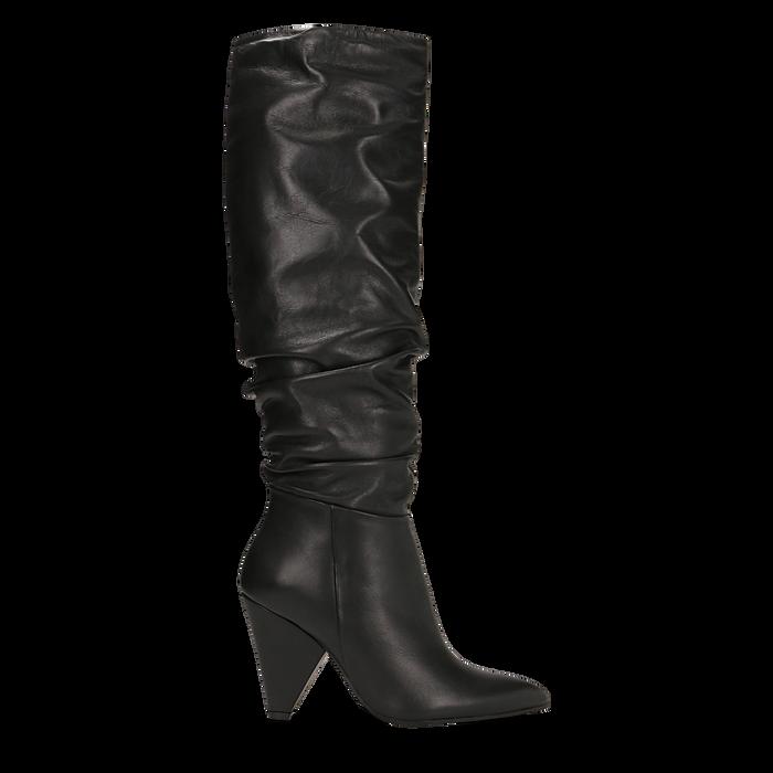 Stivali neri gambale drappeggiato in vera pelle, tacco cono 8 cm, Primadonna, 12D613914VINERO