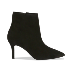 Tronchetti neri in vero camoscio, tacco midi 8 cm, Scarpe, 12D618502CMNERO, 001 preview