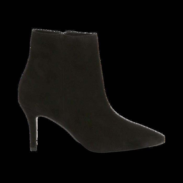 Tronchetti neri in vero camoscio, tacco midi 8 cm, Scarpe, 12D618502CMNERO