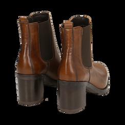 Chelsea boots cuoio in pelle, tacco 7,50 cm , Primadonna, 167734401PECUOI035, 004 preview