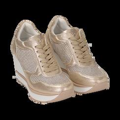 Sneakers en laminado con cuña color dorado , Zapatos, 152882661LMOROG039, 002 preview