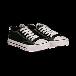 Sneakers nere in canvas, Scarpe, 137300862CANERO035, 002 preview