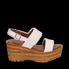 Sandali platform bianchi in eco-pelle, zeppa 8 cm , Saldi Estivi, 13A133255EPBIAN035, 001a