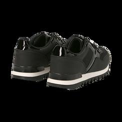Sneakers nere in tessuto laminato e dettagli mirror, Scarpe, 130100107LMNERO037, 004 preview