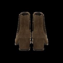 Chelsea Boots marroni in vero camoscio, tacco quadrato medio 5,5 cm, Primadonna, 127722102CMMARR, 003 preview