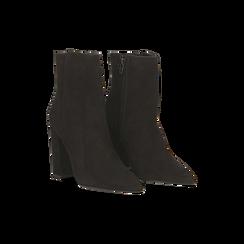 Tronchetti neri in vero camoscio, tacco 10 cm, Scarpe, 12D615110CMNERO, 002 preview