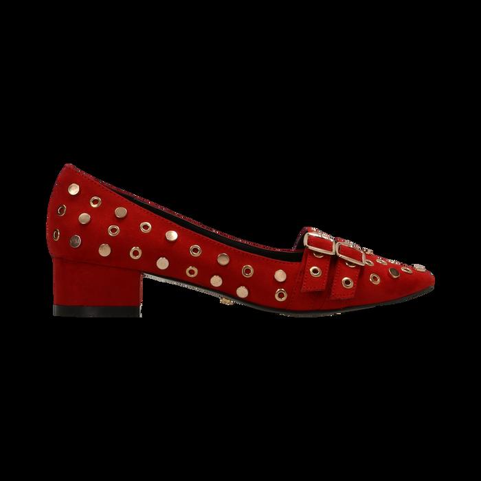 Décolleté rosse a mocassino nere con borchiette, tacco 3 cm, Primadonna, 124952202MFROSS