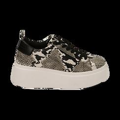 Sneakers blanc/noires imprimé python, compensée 6,50 cm , Primadonna, 167505101PTBINE035, 001 preview