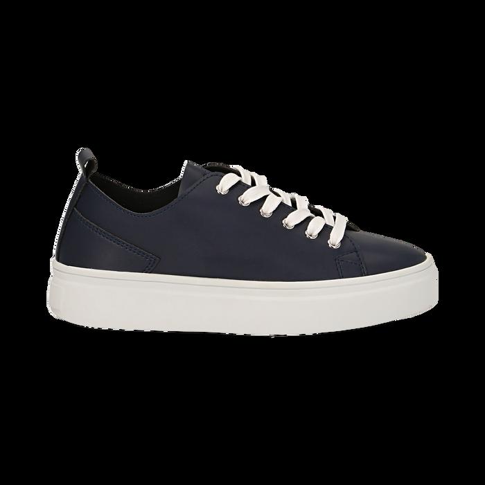 Sneakers blu in eco-pelle, Scarpe, 132500778EPBLUE036