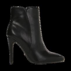 Tronchetti neri, tacco stiletto 10,5 cm, Scarpe, 124895652EPNERO, 001 preview