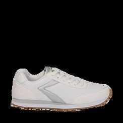 Sneakers bianche in tessuto, design aerodinamico, Scarpe, 132619024TSBIAN037, 001a